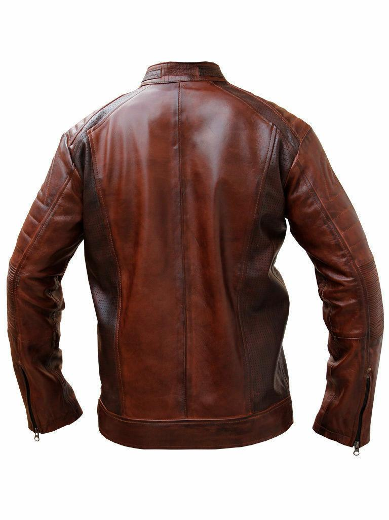 Mens Cafe Racer Jacket Motorcycle Real Jacket