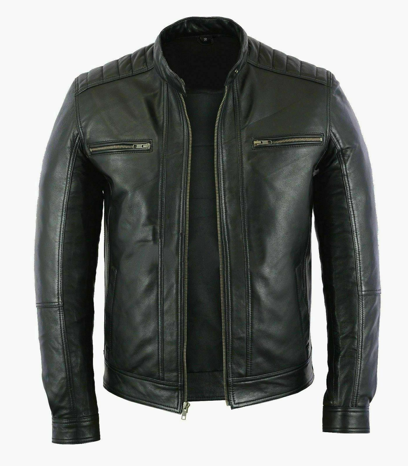 Mens Fashion Real Leather lambskin Leather Biker Style Motor