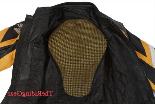 Small Leather Motorcycle Biker Jacket Padded Armor