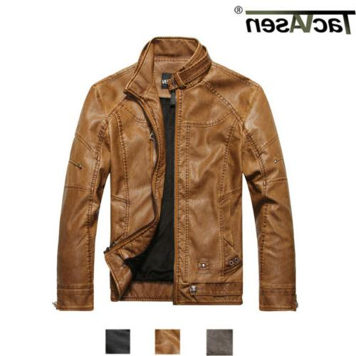 mens pu leather jacket military cargo work