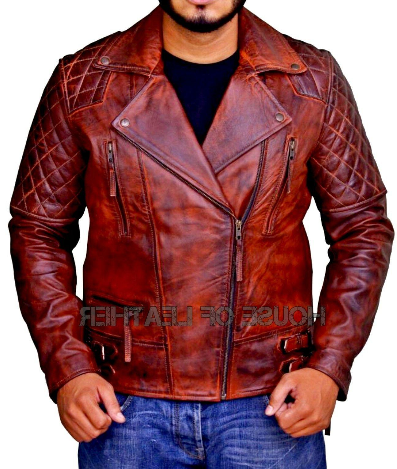 mens real leather brown brando distressed cafe