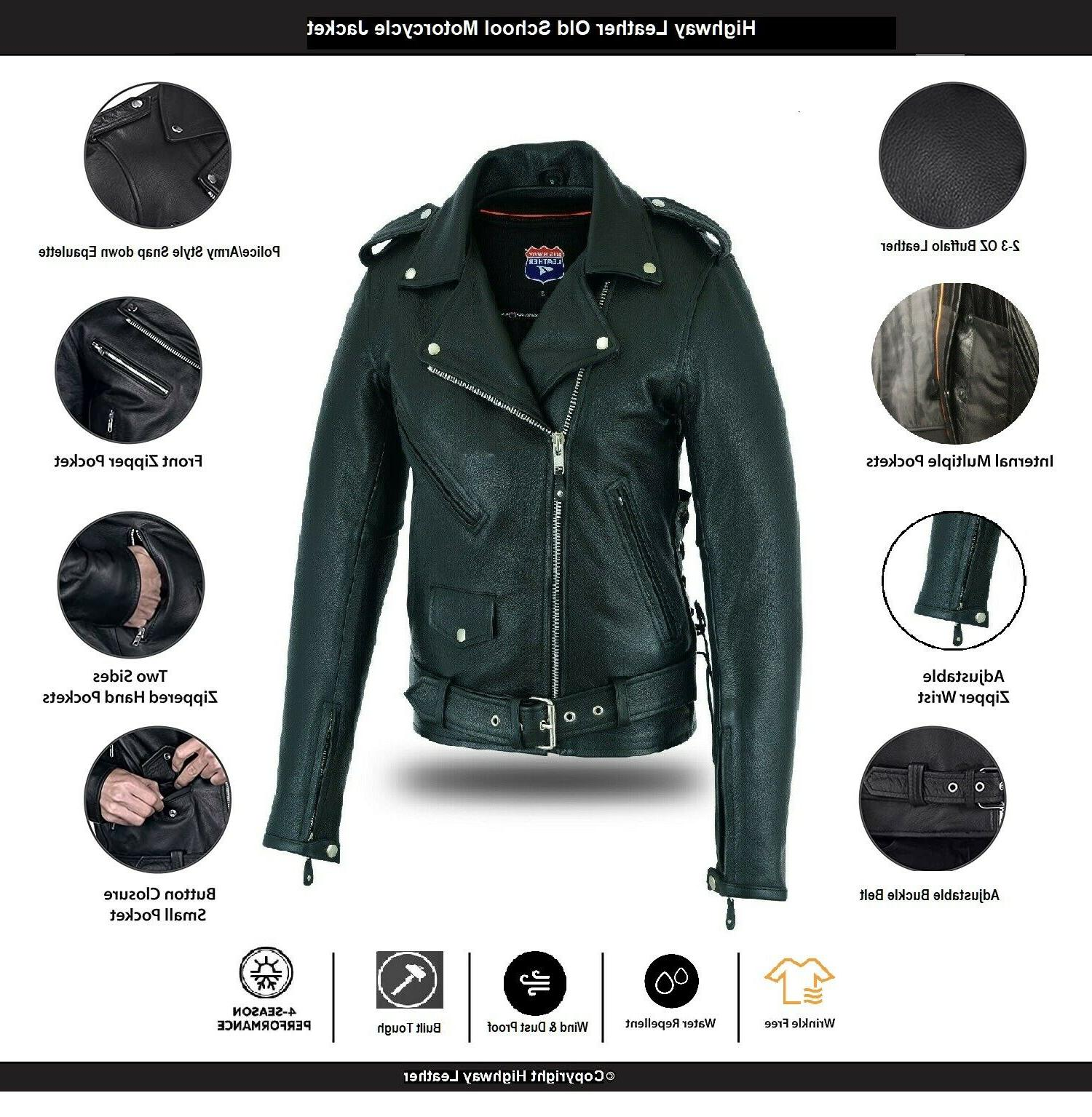 Highway Leather Old Police Style Motorcycle Leather Jacket