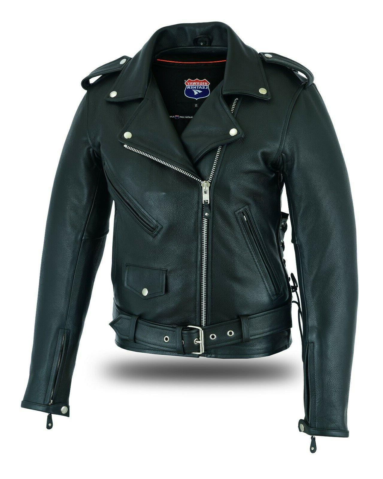 old school police style motorcycle leather jacket