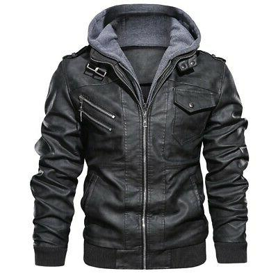 outwear anarchist leather jacket hooded motorcycle coat