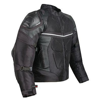 pro leather and mesh motorcycle waterproof jacket