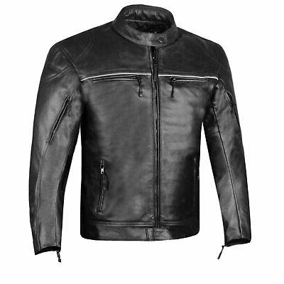 retro men s natural buffalo leather motorcycle