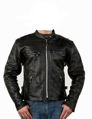 Solid-Genuine-Cowhide-Leather-Motorcycle-Cruiser-Jacket-Coat