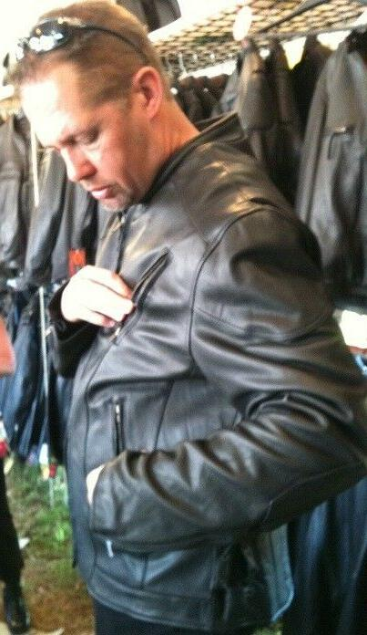 Tall vented racer leather motorcycle Big Tall bikers full action