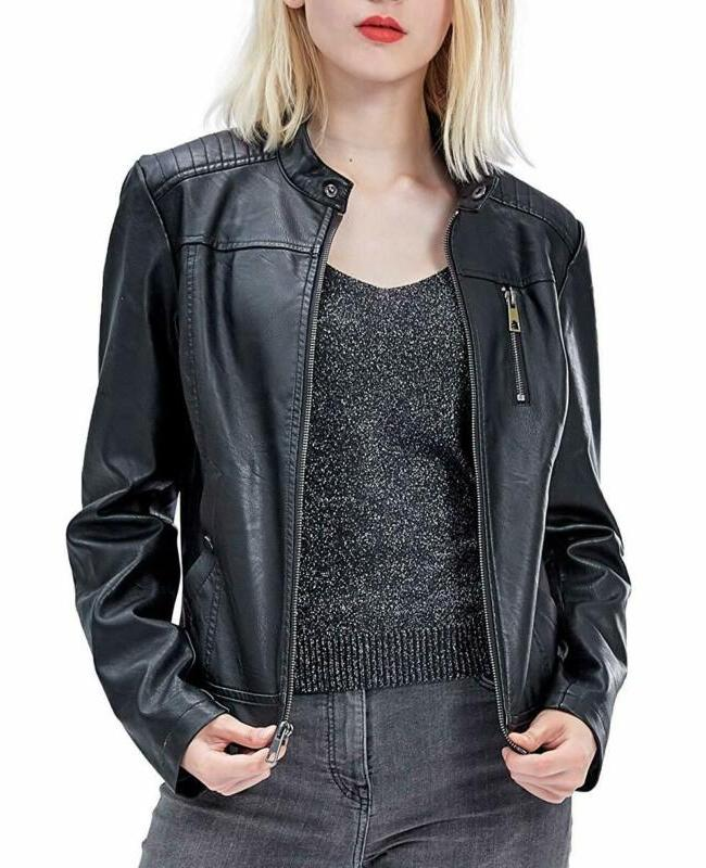 women s faux leather jackets zip up