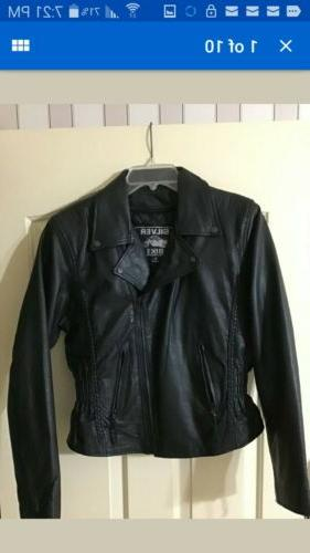 women s leather jacket size small silver