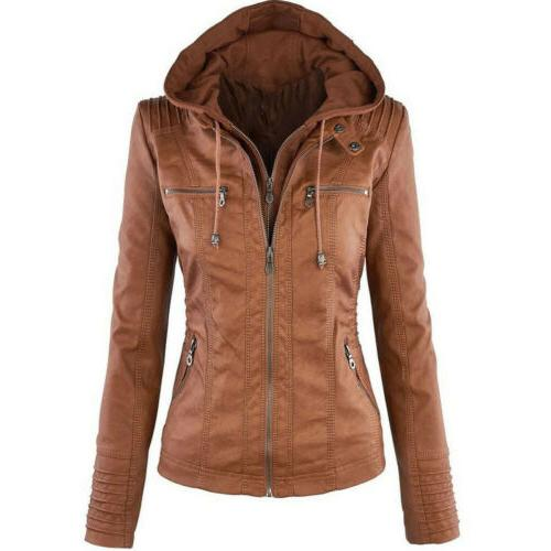 Womens Leather Motorcycle Hooded Coat Winter Warm