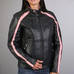Ladies LEATHER Zip Riding Jacket Motorcycle Biker Scooter Wo