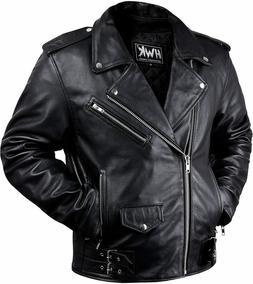 Leather Men Motorcycle Jacket Moto Riding Cafe Racer Vintage