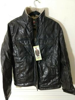 LEVI Faux Leather Full Zip Sherpa Lined Bomber Motorcycle Ja