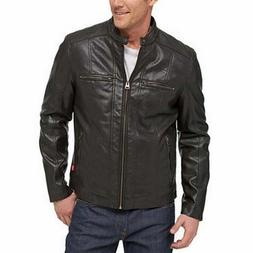 Levi's Mid-weight Motorcycle Jacket Black Brown w/ Plaid Lin