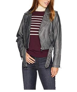 Levi's Women's Faux Leather Asymmetrical Belted Motorcycle J
