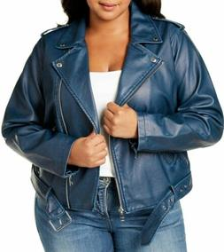 Levi's Women's Plus Size Faux Leather Asymmetrical Belted Mo