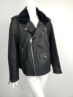 Levi's Womens Black Faux Leather Motorcycle Bomber Jacket Co