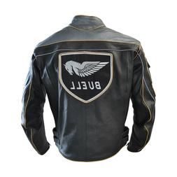 Men Buell Motorcycle Leather Jacket / Buell Moto Leather Jac