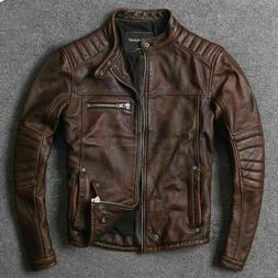 Men's Biker Vintage Cafe Racer Distressed Brown Real Leath
