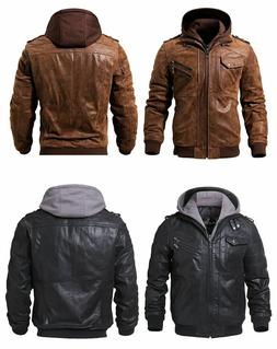 Silver Jeans Co Mens Moto Faux Leather Jacket with Detachable Hood