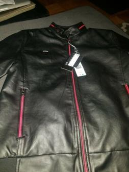 Men's black Superlative Fashion leather motorcycle jacket.