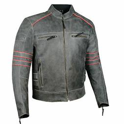Men's Brotherhood Classic Leather Motorcycle Distress CE Arm
