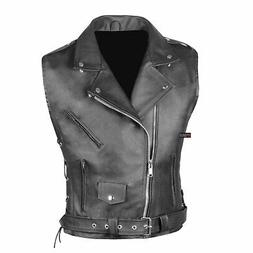 Men's Classic Leather Motorcycle Biker Concealed Carry Side