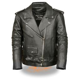 Event Leather Men's Classic Side Lace Police Style Motorcycl