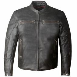 Men's Crossover Leather Motorcycle CE Armor Biker Conceal Ca