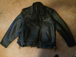 Men's Dream Apparel Black Leather Motorcycle Jacket NEW size