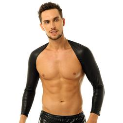 Men's Faux Leather Arm Sleeves Shrug COOL Jacket Motorcycle