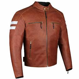 Men's Genuine Leather Jacket Motorcycle CE Armor Biker Safet