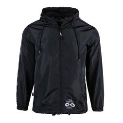 Men's Hooded Lightweight Jacket Smooth Woven Softshell Black