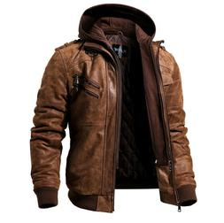 Men's Real Leather Jacket Men Motorcycle Removable Hood wint