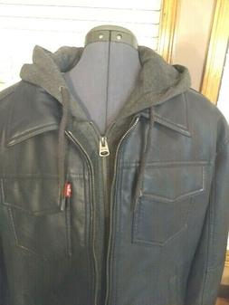 Men's LEVI'S Faux Leather Full Zip Hooded Midweight Motorcyc