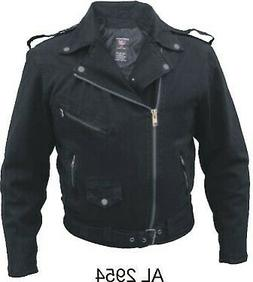 Men's Motorcycle Fashion Basic Black denim jacket With Silve