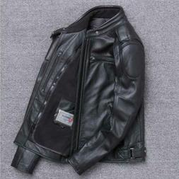 Men's Motorcycle Leather Jacket Stand Collar Coat Short Outw