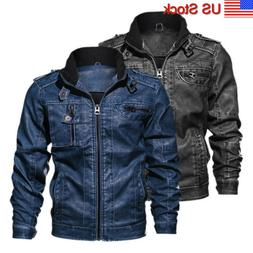 Men's Mptorcycle Jacket Coat Standing Collar Faux Leather Mu
