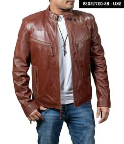 MEN'S NEW TREND STYLISH SHINY BROWN COWHIDE LEATHER MOTORCYC