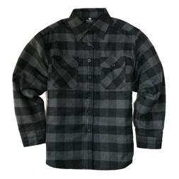 YAGO Men's Plaid Flannel Button Down Casual Shirt Jacket Bla