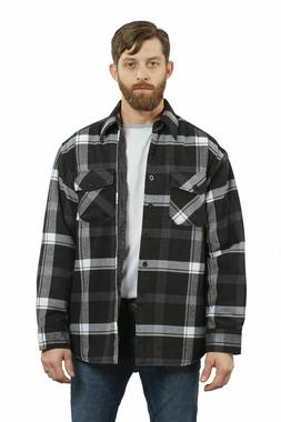 YAGO Men's Quilted Lining Plaid Flannel Jacket with Side Poc
