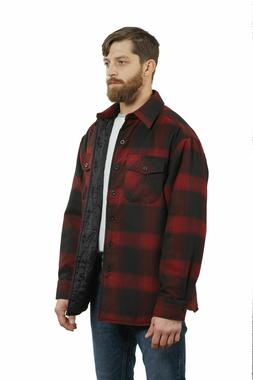 YAGO Men's Plaid Flannel Button Down Casual Shirt Jacket Red