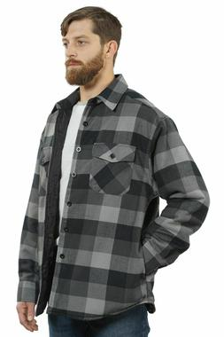 YAGO Men's Plaid Flannel Button Down Casual Shirt Jacket Gra