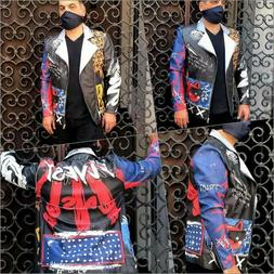 Men's The Flyest Multicolor Fashion Blazer Motorcycle Jacket