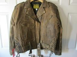 Protech Men's Vintage 80's Antique Brown Leather Motorcycle