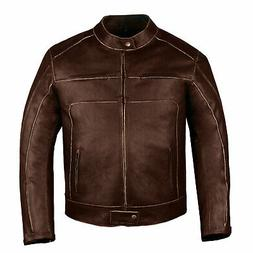 Men's Vintage Brown Motorcycle Cruiser Armor Ventilated Leat