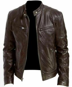 Men's Vintage Cafe Racer Brown Retro Motorcycle Cowhide Leat