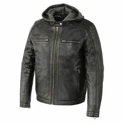 Milwaukee Leather Men's Zipper Front Leather Jacket W/ Remov