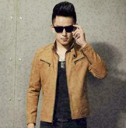 Men Stand Collar artificial Leather Jacket fashion fit Biker